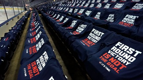 A view of the It's Time shirts on the seats for fans prior to game four between the Boston Bruins and the Columbus Blue Jackets in the second round of the 2019 Stanley Cup Playoffs at Nationwide Arena.