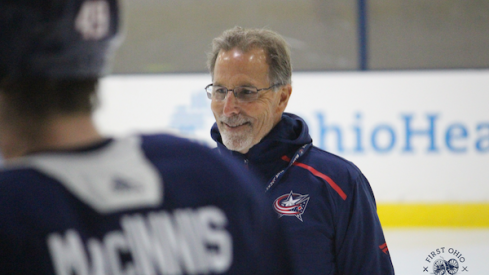 Columbus Blue Jackets head coach John Tortorella addresses his team prior to Game 1 of the Stanley Cup playoffs.