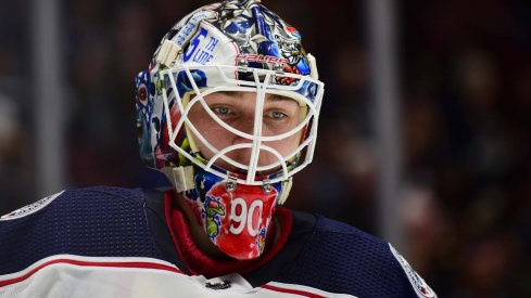 Columbus Blue Jackets goaltender Elvis Merzlikins (90) awaits the start of play against the Vancouver Canucks during the first period at Rogers Arena.
