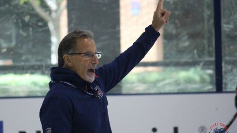 Columbus Blue Jackets head coach John Tortorella gets his team ready for practice during training camp at the OhioHealth Ice Haus.