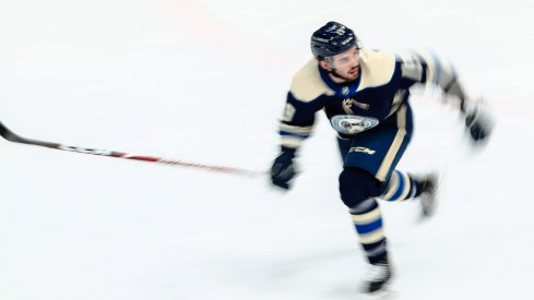 Columbus Blue Jackets center Liam Foudy (19) skates on the ice against the Tampa Bay Lightning in the second period at Nationwide Arena.