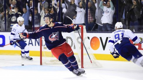 Columbus Blue Jackets center Alexandre Texier (42) celebrates scoring an empty-net goal against the Tampa Bay Lightning in the third period during game four of the first round of the 2019 Stanley Cup Playoffs at Nationwide Arena.