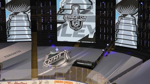 Aug 9, 2020; Toronto, Ontario, CAN; NHL graphic displays before game five of the Eastern Conference qualifications between the Columbus Blue Jackets and Toronto Maple Leafs at Scotiabank Arena.