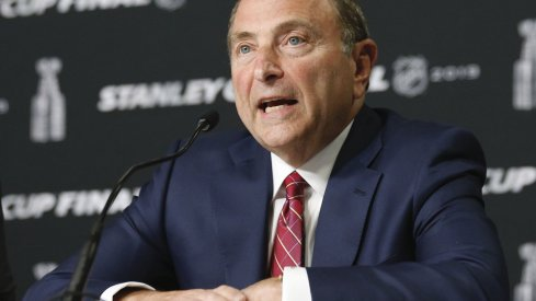 May 27, 2019; Boston, MA, USA; NHL commissioner Gary Bettman speaks at a press conference before game one of the 2019 Stanley Cup Final between the Boston Bruins and the St. Louis Blues at TD Garden.
