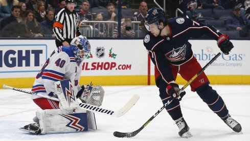 Columbus Blue Jackets forward Josh Anderson creates a scoring chance against the New York Rangers during a game at Nationwide Arena.