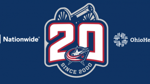 The Columbus Blue Jackets unveiled the logo for their 20th anniversary on Monday.