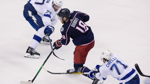 Pierre-Luc Dubois plays against the Tampa Bay Lightning