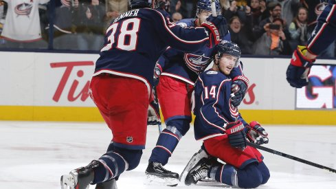 Columbus Blue Jackets forward Gustav Nyquist (14) scores the game winning goal against the Toronto Maple Leafs on a penalty shot at Scotiabank Arena. Columbus defeated Toronto in overtime.
