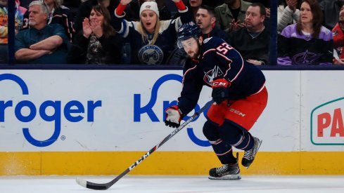 Feb 24, 2020; Columbus, Ohio, USA; Columbus Blue Jackets center Emil Bemstrom (52) skates with the puck against the Ottawa Senators in the overtime period at Nationwide Arena.