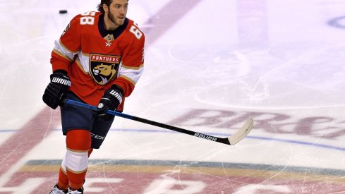 Florida Panthers left wing Mike Hoffman (68) warms up before a game against the Montreal Canadiens at BB&T Center.