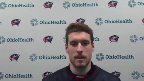 Pierre-Luc Dubois speaks to the assembled media as the Columbus Blue Jackets open up training camp.