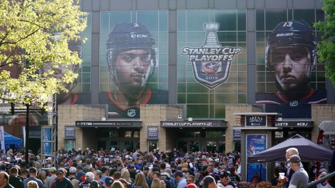 Fans enter Nationwide Arena before the Columbus Blue Jackets played in the 2019 Stanley Cup Playoffs.