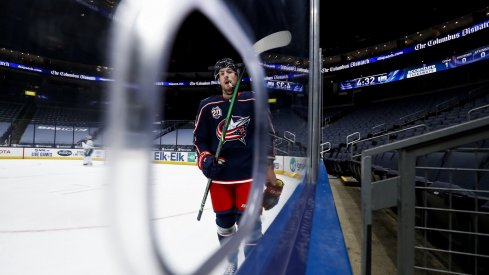 Jan 21, 2021; Columbus, Ohio, USA; Columbus Blue Jackets center Pierre-Luc Dubois (18) skates along the boards during a stop in play against the Tampa Bay Lightning in the first period at Nationwide Arena.