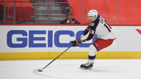 Columbus Blue Jackets center Pierre-Luc Dubois (18) during the first period against the Detroit Red Wings at Little Caesars Arena.