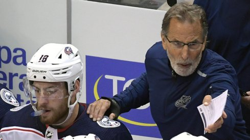 Pierre-Luc Dubois and John Tortorella on the Blue Jackets bench