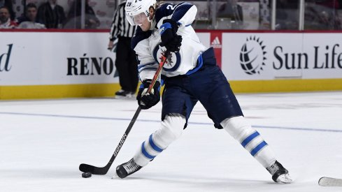 Patrik Laine takes a one-timer against the Montreal Canadiens