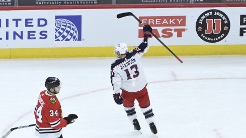 Columbus Blue Jackets forward Cam Atkinson celebrates his goal against the Chicago Blackhawks during the first period at United Center.