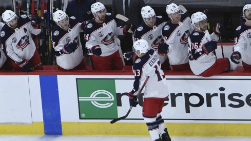 Feb 11, 2021; Chicago, Illinois, USA; Columbus Blue Jackets right wing Cam Atkinson (13) celebrates his goal against the Chicago Blackhawks during the first period at United Center.