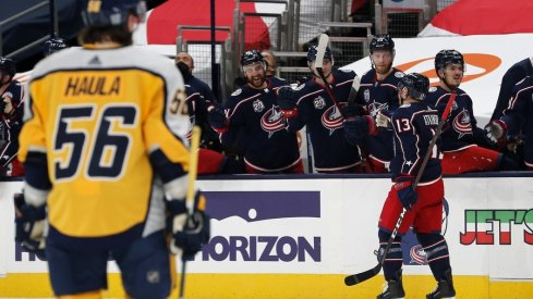 Columbus Blue Jackets right wing Cam Atkinson (13) celebrates a goal against the Nashville Predators during the first period at Nationwide Arena.