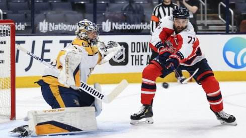 Nashville Predators goaltender Pekka Rinne (35) reacts as Columbus Blue Jackets left wing Nick Foligno (71) deflects the puck in the air in the first period at Nationwide Arena.