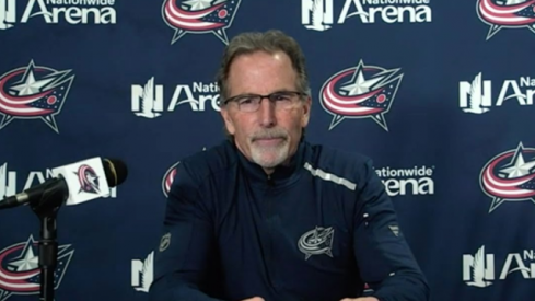 John Tortorella speaks to the assembled media after the Blue Jackets lost to the Blackhawks in OT, 6-5.