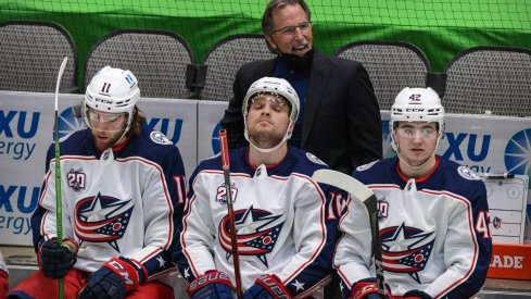 Columbus Blue Jackets head coach John Tortorella argues a call during the second period against the Dallas Stars at the American Airlines Center.