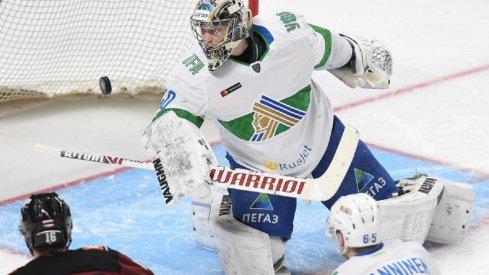 Blue Jackets goalie prospect Daniil Tarasov playing for Salavat Yulaev Ufa