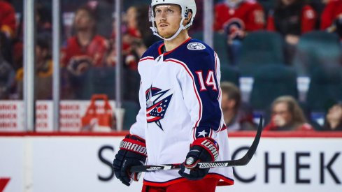 Mar 4, 2020; Calgary, Alberta, CAN; Columbus Blue Jackets center Gustav Nyquist (14) skates against the Calgary Flames during the third period at Scotiabank Saddledome.
