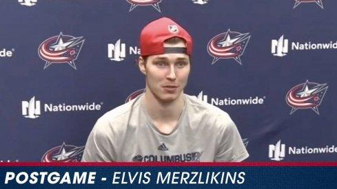 Elvis Merzlikins speaks postgame after the Blue Jackets' loss to the Lightning on Thursday night.