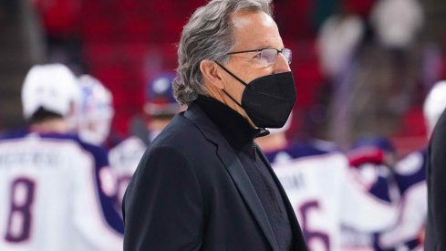 Mar 18, 2021; Raleigh, North Carolina, USA; Columbus Blue Jackets head coach John Tortorella walks off the ice after the game against the Carolina Hurricanes at PNC Arena.