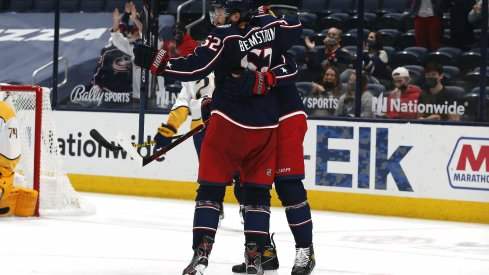 May 3, 2021; Columbus, Ohio, USA; Columbus Blue Jackets center Emil Bemstrom (52) celebrates a goal against the Nashville Predators during the third period at Nationwide Arena.