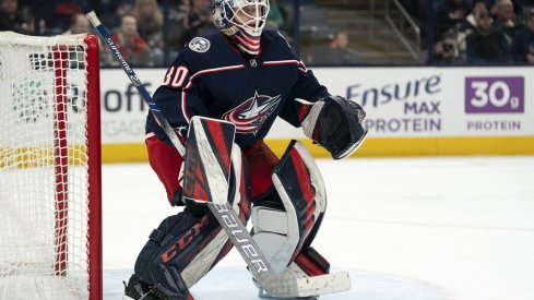 Feb 28, 2020; Columbus, Ohio, USA; Columbus Blue Jackets goaltender Matiss Kivlenieks (80) tends net against the Minnesota Wild during the third period at Nationwide Arena.