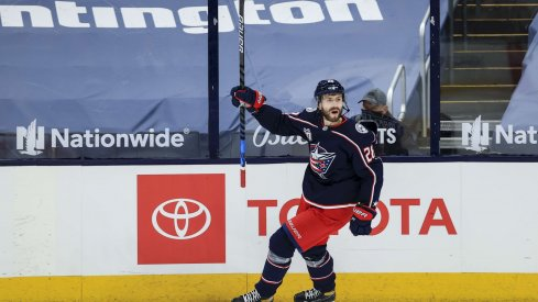 Apr 27, 2021; Columbus, Ohio, USA; Columbus Blue Jackets right wing Oliver Bjorkstrand (28) reacts to scoring a goal against the Detroit Red Wings in the first period at Nationwide Arena. The goal was reviewed and overturned.