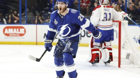 Jun 30, 2021; Tampa, Florida, USA; Tampa Bay Lightning center Blake Coleman (20) celebrates after scoring a goal past Montreal Canadiens goaltender Carey Price (31) during the second period in game two of the 2021 Stanley Cup Final at Amalie Arena.