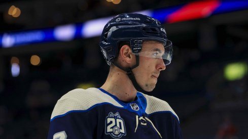 May 7, 2021; Columbus, Ohio, USA; Columbus Blue Jackets defenseman Gavin Bayreuther (7) waits for the face-off against the Detroit Red Wings in the first period at Nationwide Arena.