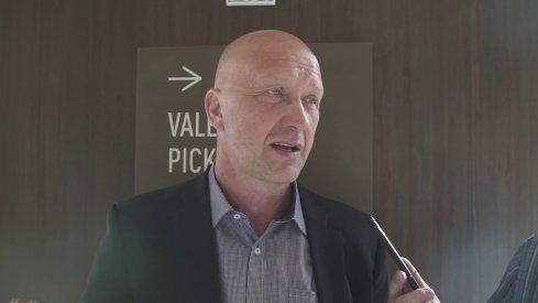 GM Jarmo Kekalainen speaks to the media.