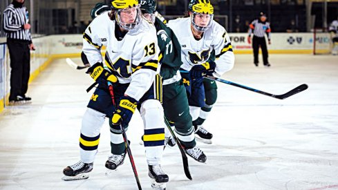 Kent Johnson skates with the puck against Michigan State
