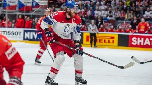 BRATISLAVA, SLOVAKIA - MAY 13: #93 Jakub Voracek (CZE) in action during the 2019 IIHF Ice Hockey World Championship Slovakia group game between Russia and Czech Republic at Ondrej Nepela Arena on May 13, 2019 in Bratislava, Slovakia.