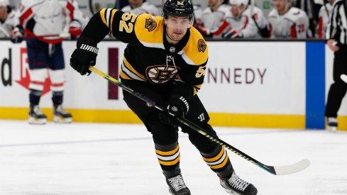Apr 18, 2021; Boston, Massachusetts, USA; Boston Bruins center Sean Kuraly (52) during the third period against the Washington Capitals at TD Garden.