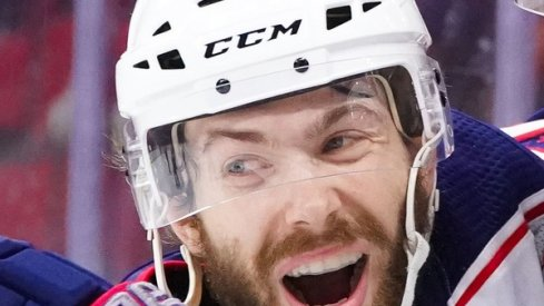 Oliver Bjorkstrand celebrates a preseason goal. The Columbus Blue Jackets are hoping to see this look frequently during the season.
