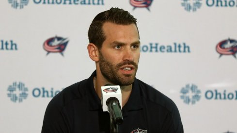 Columbus Blue Jackets forward Boone Jenner speaks with the media prior to training camp at Nationwide Arena.