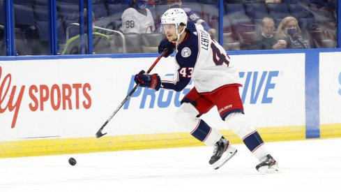 Apr 25, 2021; Tampa, Florida, USA; Columbus Blue Jackets defenseman Mikko Lehtonen (43) skates with the puck against the Tampa Bay Lightning during the second period at Amalie Arena.