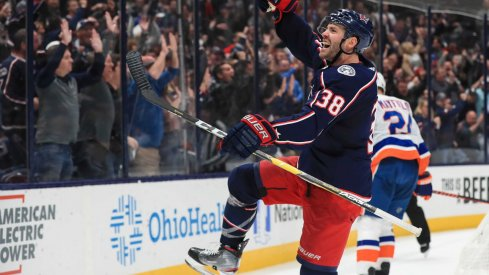 Oct 19, 2019; Columbus, OH, USA; Columbus Blue Jackets center Boone Jenner (38) celebrates scoring a goal against the New York Islanders in the second period at Nationwide Arena.