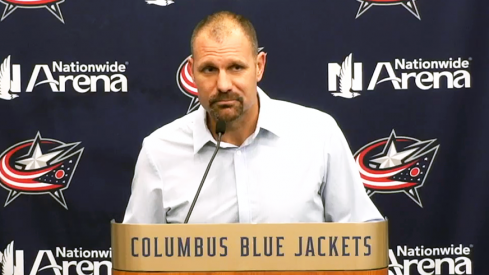 Brad Larsen speaks to the media after the Blue Jackets' 8-2 win on Opening Night.