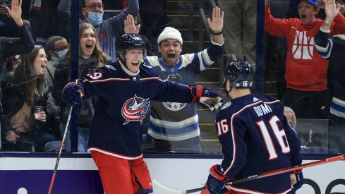 Patrik Laine celebrates his overtime game-winner as the Columbus Blue Jackets move to 2-0-0 on the season with a 2-1 victory over the Seattle Kraken.