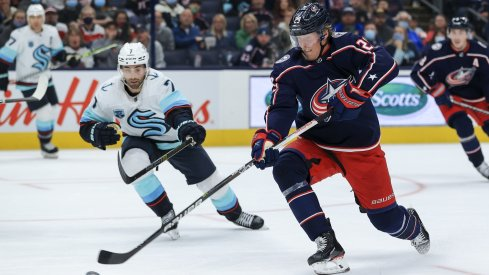 Patrik Laine was denied on a breakaway in the second period, but scored the game-winner in overtime for the Columbus Blue Jackets.