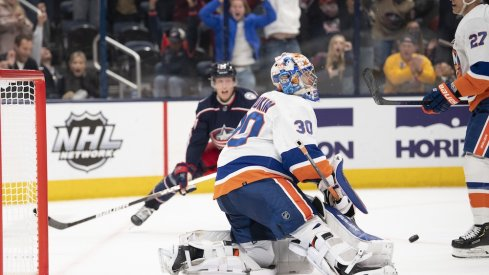 Patrik Laine scores a goal for the Columbus Blue Jackets against the New York Islanders at Nationwide Arena.