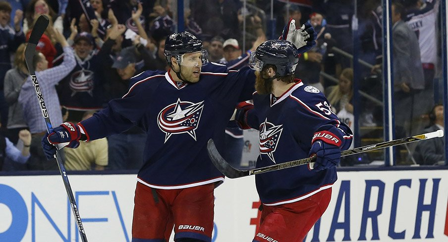 Columbus Blue Jackets defenseman Jack Johnson (7) celebrates a goal against the Pittsburgh Penguins during the first period.