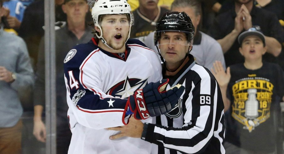 Josh Anderson argues a call during their first round series against the Penguins.