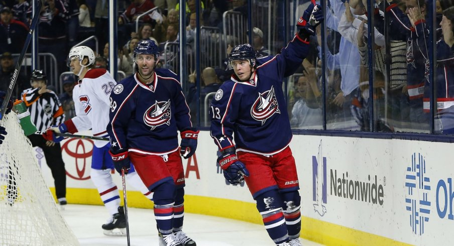 Cam Atkinson celebrates after scoring the first goal of the game on the power play.